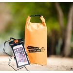 ชุด Set ซองกันน้ำมือถือใหญ่ (6 นิ้ว) สีดำ + กระเป๋ากันน้ำ Penguin Bag ขนาด 10 ลิตร สีส้ม