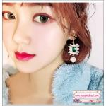 ต่างหูแฟชั่นสไตล์เกาหลี Luxury Rhinestone Charm Pearl Drop Earrings for Women Girls Vintage Korean Long Earring Jewelry
