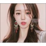 ต่างหูระย้าแฟชั่นวินเทจสไตล์เกาหลี Vintage Earring Jewelry Long Red Rhinestone Tassel Drop Dangle Earrings