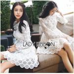 เดรสแขนยาวผ้าคอตตอนปักและฉลุลายดอกไม้สีขาว กระโปรงบานนิดๆ เนื้อผ้าเป็นแบบฉลุลายดอกไม้ by Lady Ribbon