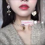ต่างหูแฟชั่นสไตล์เกาหลี Asymmetry Metal Letter Love Heart Earring Luxury Rhinestone Cross Long Drop Dangle Earrings