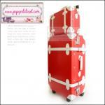 ยกเลิกการผลิต!!! กระเป๋าเดินทางวินเทจสไตล์เกาหลี ดีไซน์ออริจินัล 2 ล้อ คันชักด้านนอก สีแดงคาดขาว หนัง PU มี 3 ไซส์ 20, 22, 24 นิ้ว (Pre-order ราคาแต่ละรุ่นอยู่ด้านในนะคะ)