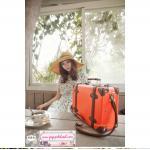 กระเป๋าสะพายดีไซน์วินเทจเรโทรสไตล์เกาหลี สีส้มคาดน้ำตาล Orange Brown Original Classic หนัง PU ไซส์ 12 หรือ 14 นิ้ว (Pre-order) ราคาสินค้าอยู่ด้านในค่ะ