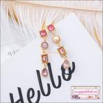 ต่างหูแฟชั่นสไตล์เกาหลี Luxury Rhinestone Charm Pearl Long Earrings New Fashion Drop Dangle Earring Jewelry
