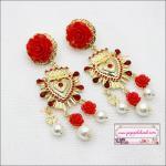 ต่างหูระย้าแฟชั่นสไตล์บาร็อค ดีไซน์แนวงานแบรนด์ Baroque luxury Pearl red bridal earrings red flower earring