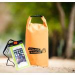 ชุด Set ซองกันน้ำมือถือใหญ่ (6 นิ้ว) สีเขียว + กระเป๋ากันน้ำ Penguin Bag ขนาด 10 ลิตร สีส้ม