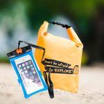 ชุด Set ซองกันน้ำมือถือเล็ก (4.7 นิ้ว) สีฟ้า+ กระเป๋ากันน้ำ Penguin Bag ขนาด 5 ลิตร สีส้ม