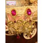 ต่างหูแฟชั่นสไตล์บาร็อค European double key gem palace retro earrings Baroque wind cross earrings