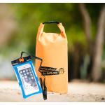 ชุด Set ซองกันน้ำมือถือใหญ่ (6 นิ้ว) สีฟ้า + กระเป๋ากันน้ำ Penguin Bag ขนาด 10 ลิตร สีส้ม