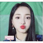 ต่างหูแฟชั่นสไตล์เกาหลี New Korean Red Rhinestone Hollow Love Heart Water Drop Simulated Pearl Earrings