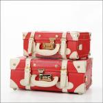 """กระเป๋าสะพายวินเทจสไตล์เกาหลี สีแดงคาดขาว ไซส์ 12"""" หรือ 14"""" Red / White Beauty Bag Vintage Suitcase Korea Style (Pre-order ราคาสินค้าอยู่ด้านใน)"""