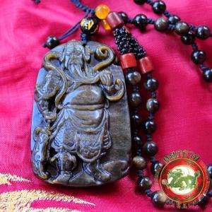 เทพเจ้ากวนอู 關羽 ปางยืนถือง้าว(ลี้กวนกง)หินออบซิเดียนสีดำเหลือบทอง