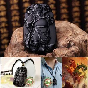 เทพเจ้ากวนอู 關羽 ปางยืนถือง้าว(ลี้กวนกง) หินออบซิเดียนสีดำ(หินภูเขาไฟ)