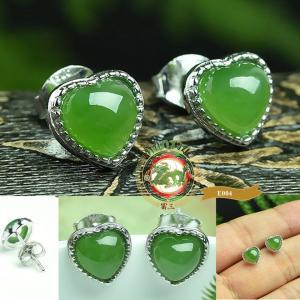 ต่างหูหินหยก Nephirte สีเขียวจักรพรรดิ์รูปหัวใจ E0004
