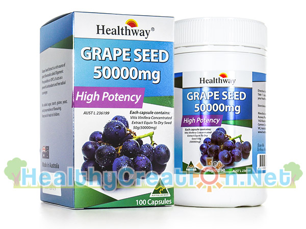 Healthway Grape Seed เฮลท์เวย์ เกรป ซีด [100 แคปซูล] สารสกัดเมล็ดองุ่น เพื่อผิวขาวกระจ่างใส ชะลอการแก่ก่อนวัย และป้องกันเส้นเลือดขอด