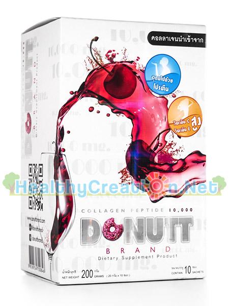 Donut Collagen 10000 mg. Cherry Flavor โดนัท คอลลาเจน 10000 มก. บรรจุ 10 ซอง บำรุงผิวพรรณที่แห้งกร้าน กระชับผิว ดูอ่อนกว่าวัย