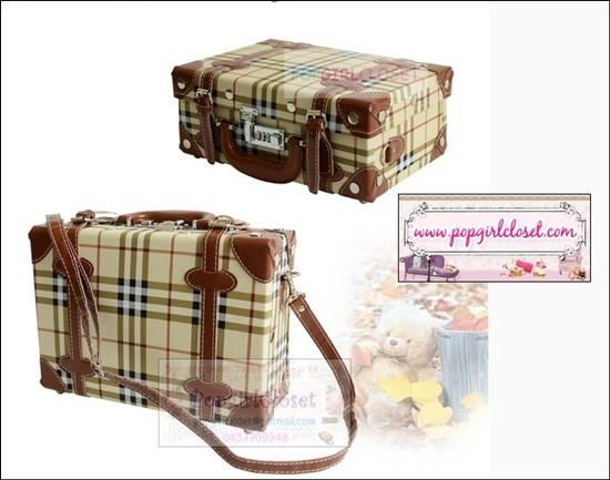 """กระเป๋าสะพายวินเทจสไตล์เกาหลี ลายสก็อตเบจคลาสสิค ไซส์ 12"""" Beauty Bag Vintage Korea Style (Pre-order ราคาสินค้าอยู่ด้านใน)"""