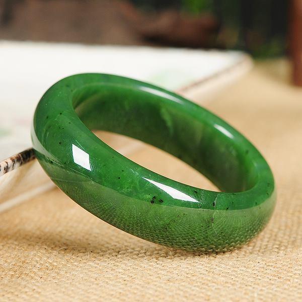 กำไลหยกHotan ลายจุดและลายหินธรรมชาติสีเขียวจักรพรรดิ์ 6 Cm