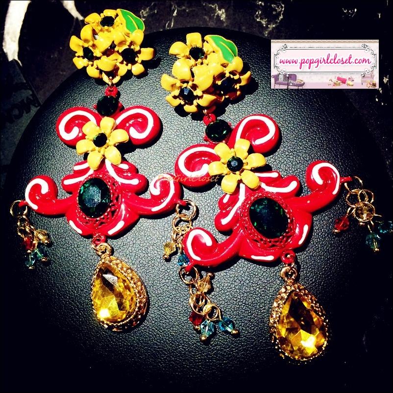 ต่างหูระย้าแฟชั่นบาร็อคสไตล์แบรนด์ดัง Baroque Earring European Court Style Luxury Women Fancy Work Baroque Earring Jewelry