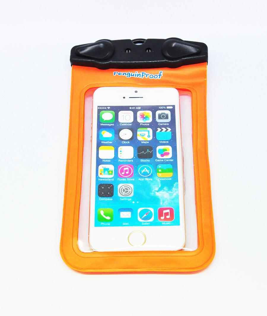 M-45C ซองกันน้ำโทรศัพท์มือถือขนาดไม่เกิน 4.5 นิ้ว สีส้ม