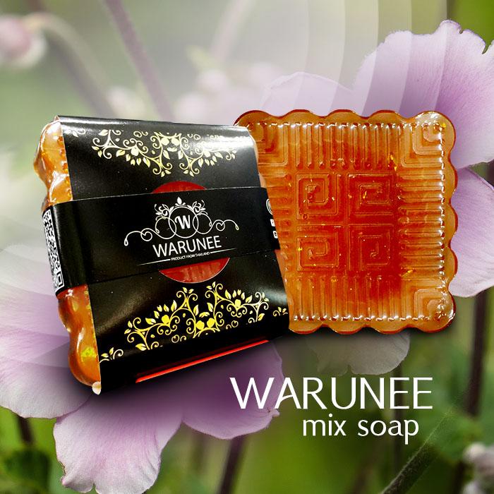 warunee mix soap ขนาด 50 กรัม (ก้อนทรงสี่เหลี่ยมพิมพ์ลาย)