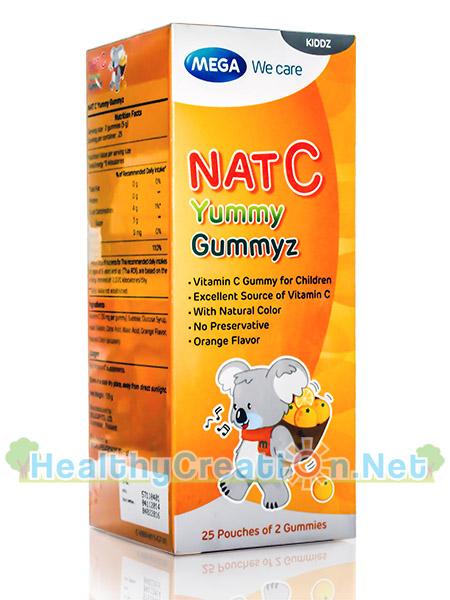 Mega Nat C Yummy Gummyz เมก้า แนท-ซี ยัมมีกัมมีซ บรรจุ 50 ชิ้น (25 ห่อ*2ชิ้น) วุ้นเจลลาติน สำเร็จรูป ผสมวิตามินซี กลิ่นส้ม สำหรับเด็ก