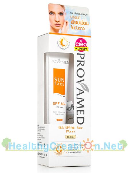 Provamed Sun SPF50 Non Chemical Sunscreen ปริมาณสุทธิ 30 ml. กันแดดเนื้อบางเบา ปรับผิวให้สว่างขึ้น