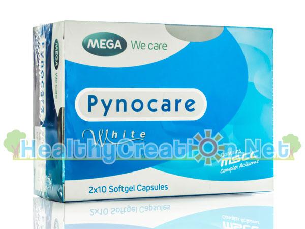 Mega We Care Pynocare White ไพโนแคร์ ไวท์ บรรจุ 20 แคปซูล อาหารเสริมผิวที่ช่วยลดฝ้า กระ จุดด่างดำ ทำให้ผิวดูกระจ่างใสขึ้น