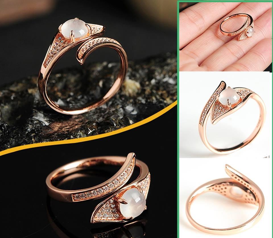แหวนหยกน้ำแข็ง หยกพม่าสีงาช้าง