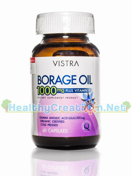 Vistra Borage Oil 1000 mg. Plus Vitamin E บรรจุ 40 แคปซูล น้ำมันเมล็ดโบราช บำรุงผิวพรรณให้เปล่งปลั่ง ให้ความชุ่มชื้นแก่ผิว