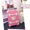 """กระเป๋าเดินทางดีไซน์วินเทจสไตล์เกาหลี วินเทจอัพเกรด 4 ล้อ ดีไซน์เพื่อสาวแบ๊ว สาวกคิตตี้โดยเฉพาะ """"KITTY BABY PINK/WHITE"""" Vintage Retro Suitcase&Luggage Korea Style ไซส์ 20"""", 22"""", 24"""" หนัง PU (Pre-order) ราคาสินค้าอยู่ด้านในค่ะ"""