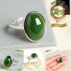 R0013แหวนหยกเม็ดใหญ่ Nephrite Green Jasper