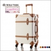 """กระเป๋าเดินทางดีไซน์วินเทจเรโทร วินเทจอัพเกรด 4 ล้อ """"WHITE"""" Vintage Retro Suitcase European Style World Trunk ไซส์ 20""""&24"""" หนัง PU+ABS (Pre-order) ราคาสินค้าอยู่ด้านในค่ะ"""