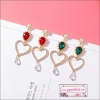 ต่างหูแฟชั่นสไตล์เกาหลี Korean Sweet Hollow Out Lover Heart Drop Earring Water Drop Crystal Long Earring