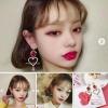 ต่างหูแฟชั่นสไตล์เกาหลี Korean Sweet Hollow Out Lover Heart Water Drop Crystal Long Earring !Earring Haul!!!