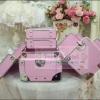 กระเป๋าเครื่องสำอางดีไซน์เมคอัพอาร์ทติสท์ อินเทรนด์สไตล์เกาหลี สีชมพูอ่อน Baby Pink ไซส์ S (Pre-order)