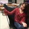 เสื้อชีฟองซีทรูสีแดงลายดอก คอวีกว้างมีระบาย แขนยาวดีไซน์ปลายแขนกระดิ่งระบายเล็กน้อย สไตล์เกิร์ลลี่ค่ะ