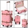 กระเป๋าเดินทางดีไซน์วินเทจเรโทร Baby Pink Brown PU high grade ดีไซน์ล้อลาก 2 ล้อ และ 4 ล้อ ราคาสินค้าด้านในค่ะ (Made to Order)