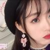 ต่างหูระย้าแฟชั่นสไตล์เกาหลี New Cute Pink Bow Luxury Rhinestone Drop Dangle Earrings