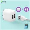 ที่ชาร์จ แถมฟรี สายชาร์จ Micro USB ชาร์จได้ 2 เครื่องพร้อมกัน ประกัน 1 ปีเต็ม
