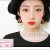 ต่างหูแฟชั่นสไตล์บาร็อค กุหลาบใหญ่สีแดง Baroque fashion earrings ceramic flower beauty head tassel nail night store Bold Fashion Earrings