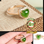 แหวนหัวหยกรูปหัวใจ Hetian Green Jasper R0005