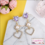 ต่างหูแฟชั่นเกาหลี Korean Luxury Shiny Rhinestone Love Heart Drop Charm Pearl Earrings