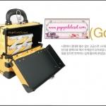 กระเป๋าเครื่องสำอางดีไซน์เมคอัพอาร์ทติสท์ สไตล์เกาหลี สี Yellow Gold Size S (W25xD15xH21cm.) Made in Korea (Pre-order)