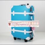 กระเป๋าเดินทางดีไซน์วินเทจ สไตล์เกาหลี สีฟ้าคาดขาว PU high grade คุณภาพเทียบเคียงหนังแท้ ไซส์ 18, 20, 22, 24, 28, 30 นิ้ว ดีไซน์ 2 ล้อลาก (Made to Order) ราคาสินค้าอยู่ด้านในค่ะ