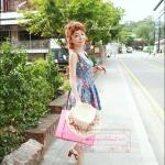 กระเป๋าสะพายดีไซน์วินเทจสไตล์เกาหลี สีชมพูเข้ม Red Rose หนัง PU ไซส์ 12 หรือ 14 นิ้ว (แบบถือ/สะพาย) So Cute (Pre-order) ราคาสินค้าอยู่ด้านในค่ะ