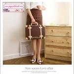 """กระเป๋าสะพายวินเทจสไตล์เกาหลี สีน้ำตาลคาดเบจ ไซส์ 12"""" หรือ 14"""" Brown/Beige Beauty Bag Vintage Korea Style (Pre-order ราคาสินค้าอยู่ด้านใน)"""