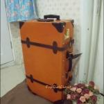 """กระเป๋าเดินทางล้อลากดีไซน์วินเทจเรโทร หนังแท้ Pigskin Korea&Japanese Style """"ORANGE/BROWN"""" Vintage Retro Trolley ไซส์ 17, 20, 22, 24, 28, 30 นิ้ว คลาสสิคออริจินัล 2 ล้อ (Made to Order) ราคาสินค้าด้านในค่ะ"""