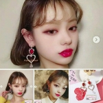 ต่างหูแฟชั่นสไตล์เกาหลี Korean Sweet Hollow Out Lover Heart Water Drop Crystal Long Earring !Earring Haul!!!