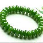 สร้อยข้อมือลูกปัดหินหยกnephrite ลูกคิดแบน สีเขียวจักรพรรดิ์